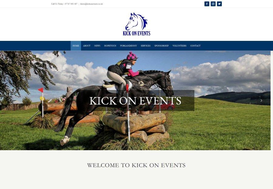 Kick on events web design