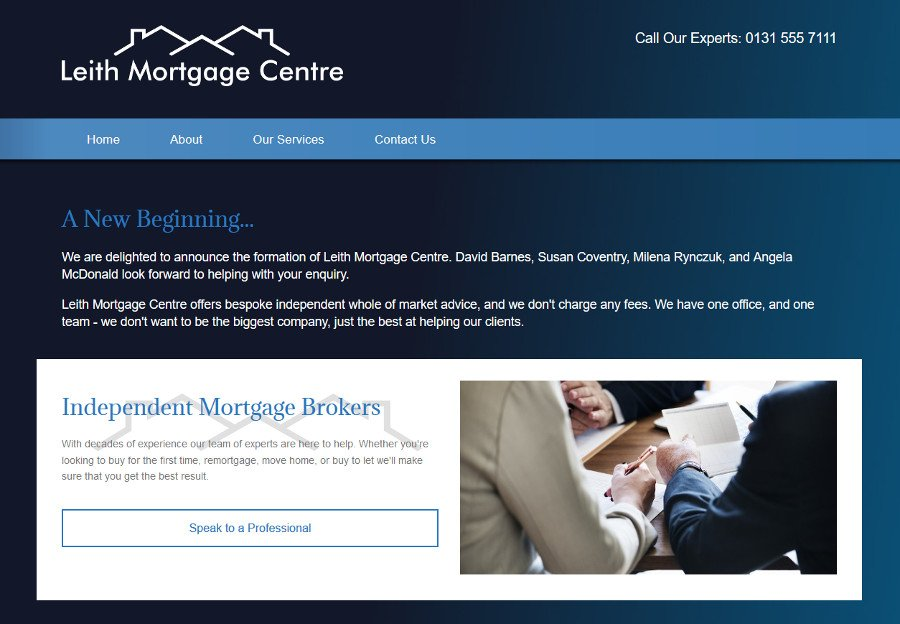 Leith mortgage web design