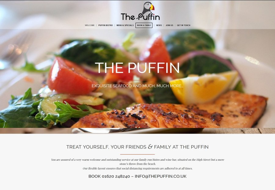 Puffin Restaurant web design